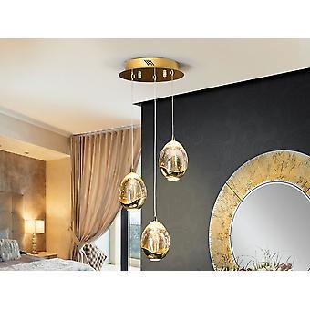 Schuller Roc - Lâmpada de 3 luzes LED, feita de metal, acabamento dourado. Tons de vidro com forma de gota em vidro sólido, tonalidade de champanhe, com bolhas decorativas dentro. Ajustáveis em comprimento. LED de 15W. 1.440 lm. 3.000 K. - 783741