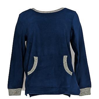 Cuddl Duds Women's Petite Pajama Top Fleecewear Stretch Blue A371298