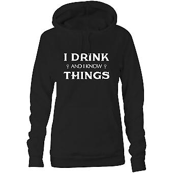 Womens Sweatshirts Hooded Hoodie- I Drink And I Know Things