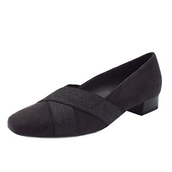 Peter Kaiser Nigela Low Heel Wide Fit Ballet Pumps In Carbon Suede