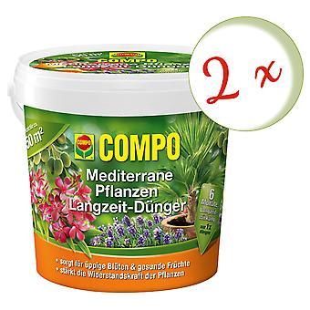 Sparset: 2 x COMPO Middelhavsplanter langsiktig gjødsel, 1,5 kg