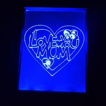 I Love You MUM Heart Colour Changing RC LED Mirror Light Frame