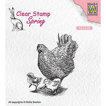 Nellie's Choice Clearstamp - Mamma höna med sina kycklingar SPCS015 49x60mm (02-20)