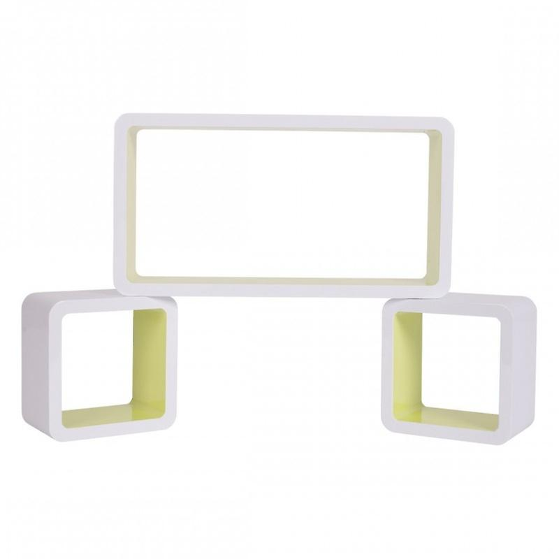 Rebecca Mobili Set 3 Mensole Libreria Legno Bianco Giallo Stile Urban Idee Casa