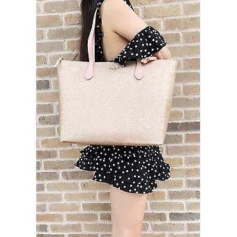 Kate spade joeley glitter penny large top zip tote handbag wkru6278 rose gold