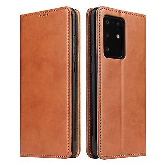 For Samsung Galaxy S20 Ultra Case Leather Flip Wallet Folio Cover Brown