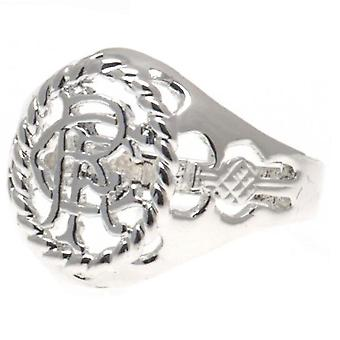 Rangers FC Large Silver Plated Crest Ring