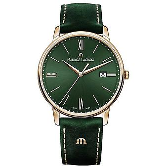 Maurice Lacroix Elrios Smoked Green Leather Strap Gold Plated Case EL1118-PVP01-610-1 Watch