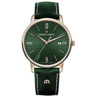 Maurice Lacroix Elrios Fumé Cuir Vert Bracelet Or Plaqué Étui EL1118-PVP01-610-1 Montre