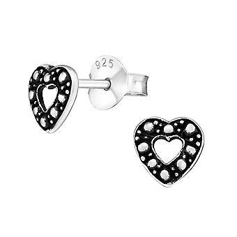 Heart - 925 Sterling Silver Plain Ear Studs - W19350x
