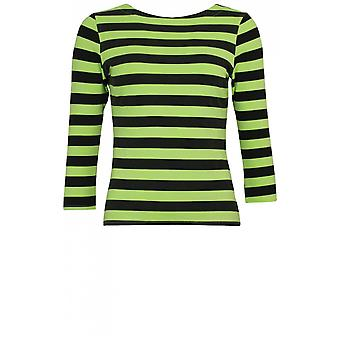 A Postcard from Brighton Lime Green & Black Striped Top