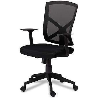 Furnhouse Basic Office Chair, Black Fabric, Plastic Base, 63x65x H96-105 cm