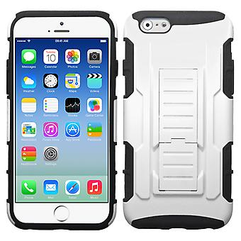 Asmyna Car Armor Stand Case for Apple iPhone 6/6S - White/Black