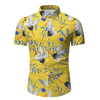 Allthemen الرجال & apos;ق المطبوعة سليم قصيرة الأكمام قميص عارضة Lapel قميص