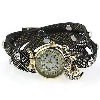 Guarda la luna e le stelle scintillante avvolgere orologio braccialetto in nero