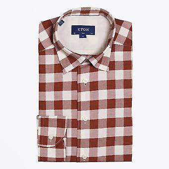 Eton  - Checked Twill Shirt - Pink/Red