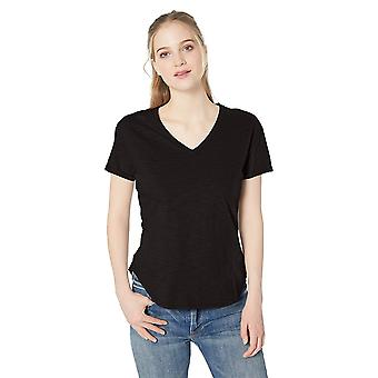 Brand - Daily Ritual Women's Lived-in Cotton Roll-Sleeve V-Neck T-Shirt, Black, X-Large