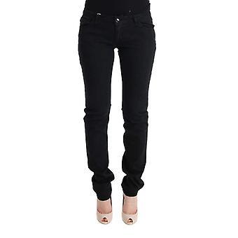 Zwarte katoenen slim fit lage taille jeans--SIG3767536