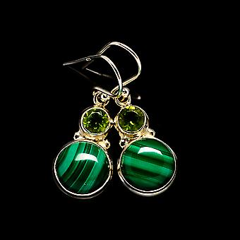 "Malachite, Peridot Earrings 1 1/4"" (925 Sterling Silver)  - Handmade Boho Vintage Jewelry EARR404820"
