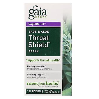 Gaia Herbs, Throat Shield Spray, Sage & Aloe, 30 ml