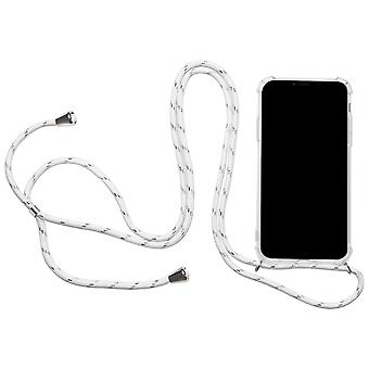 Shell with Neck Strap for Apple iPhone 7 Plus/8 Plus Rubber Mobile Shell Necklace White
