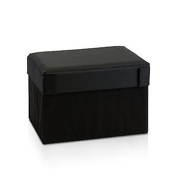 Furinno Oxford 10061R1BK Rectangular Foldable Storage Stool Ottoman, Black