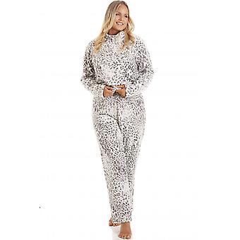 Camille Womens Supersoft Grey Fleece Animal Print Pyjama Ensemble