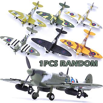 22*18cm Assemble Fighter Model Toys Building Tool Sets - Aircraft Diecast 1/48 Scale War-ii Spitfire Gift For Boy (1pcs Random Colors)