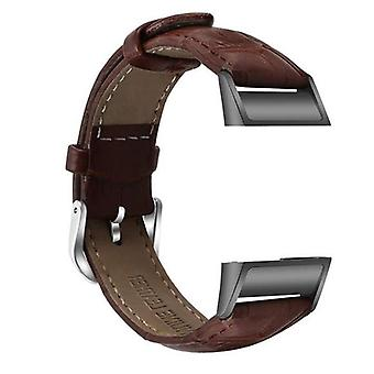 for Fitbit Charge 4 & Charge 3 Leather Strap Band Bracelet Wristband Replacement[Dark Brown]