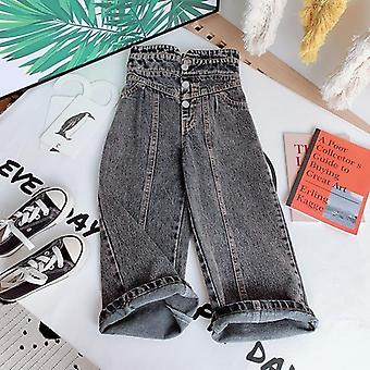 Denim Pants, Wide Leg Trousers For - Streetwear High Waist Bud Buttons