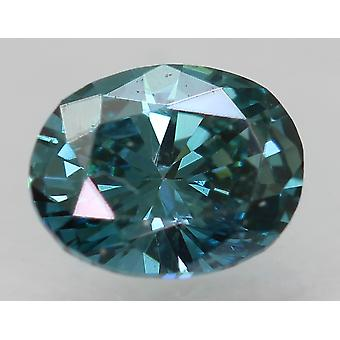 Cert 0,34 Ct Vivid Blau VVS2 Oval enhanced natürliche lose Diamant 5.1x3.98mm 2VG