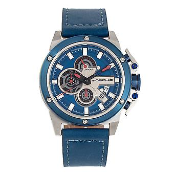 Morphic M81 Series Chronograph Leather-Band Watch w/Date - Blue/Silver