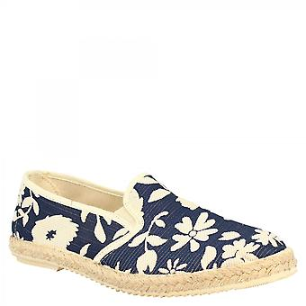 Leonardo Shoes Men's handmade round toe slip-on espadrilles in white and blue napa leather floral pattern