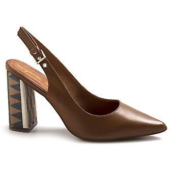 Women's Tabita Brown Shoe With Decorated Heel