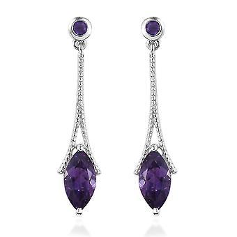 TJC Amethyst Dangle Earrings Platinum Plated 925 Sterling Silver for Women