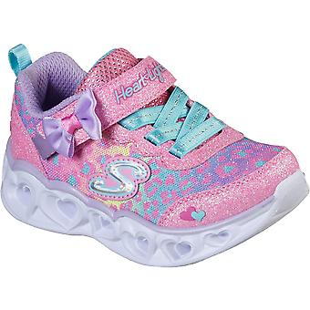 Skechers Girls Heart Lights Bungee Lace Light Up Trainers