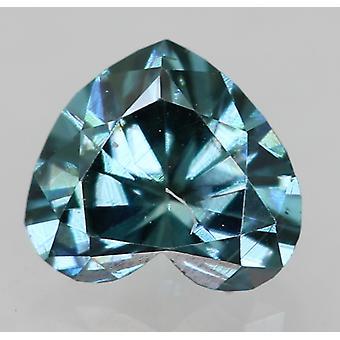 Cert 0.25 Karaat Vivid Blue VVS1 Heart Enhanced Natural Diamond 4.27x3.81mm 2EX