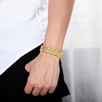 18K Gold Plated Flower Shape Male Bracelet