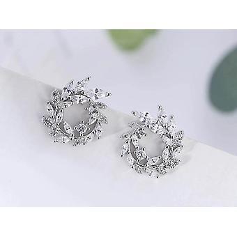 Sterling Silver Round Rhinestone Stud Earrings Jewelry, Pendientes Brincos