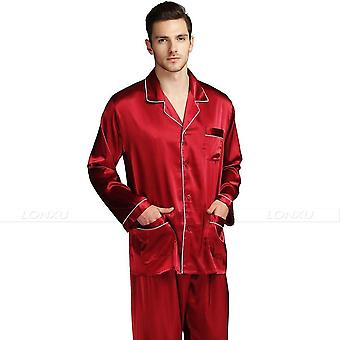 Men's Silk Satin Pajamas Pyjamas Sleepwear Set For All Seasons
