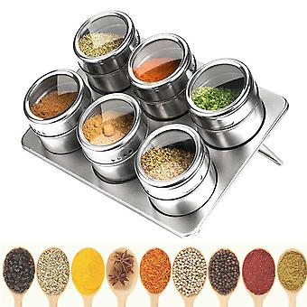 Spice Jars Set With Bottom Plate Stainless Steel Spice Tins Spice Seasoning Containers Pepper Seasoning Sprays Tools 6Pcs/Set