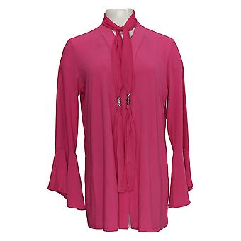 Dennis Basso Women's Sweater Tunic Cardigan W/ Chiffon Scarf Pink A307208