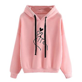 Frauen Hoodies, Casual Planet Print, solide lose Kordelzug Sweatshirt lang
