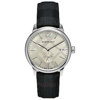 Burberry BU10008 Stoff und Leder Band klassische Runde Männer's Uhr