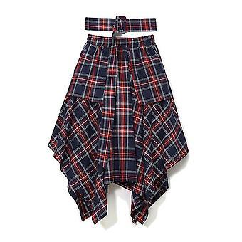 Spring High Waist Red Plaid Split Joitn Loose Big Hem Half-body Skirt (blue Red