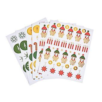 Père Noël clinquant d'or Noël Sticker Set 182 autocollants Snowflakes étoiles