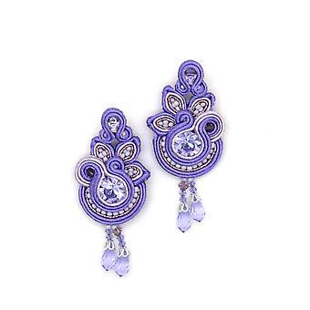 Floral Drop Earrings In Violet Colour