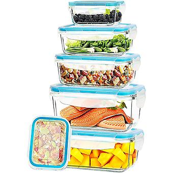 KICHLY - Glass Food Storage Container Set - 12 Pieces (6 Containers & 6 Transparent Lids)