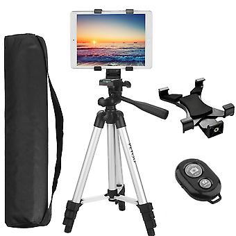 "Pemotech tripod for tablet, 42"" inch aluminum camera tripod+tablet holder mount+bluetooth remote shu"