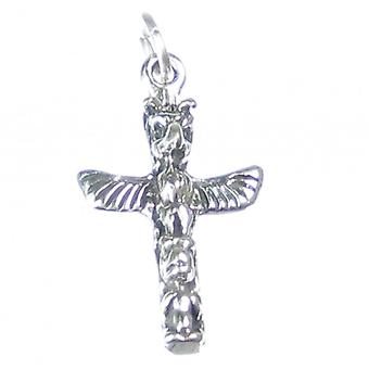 Totem Pole Sterling Silver Charm .925 X 1 Native American Red Indian - 2649